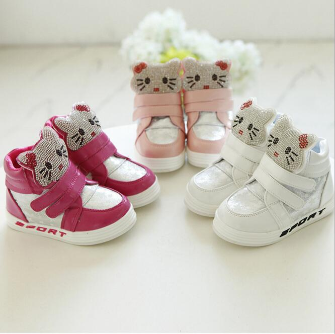 2016 Spring Girls Shoes Rhinestone Hello KT Sneakers Fashion Casual Kids Shoes Girls Sport Running Shoes