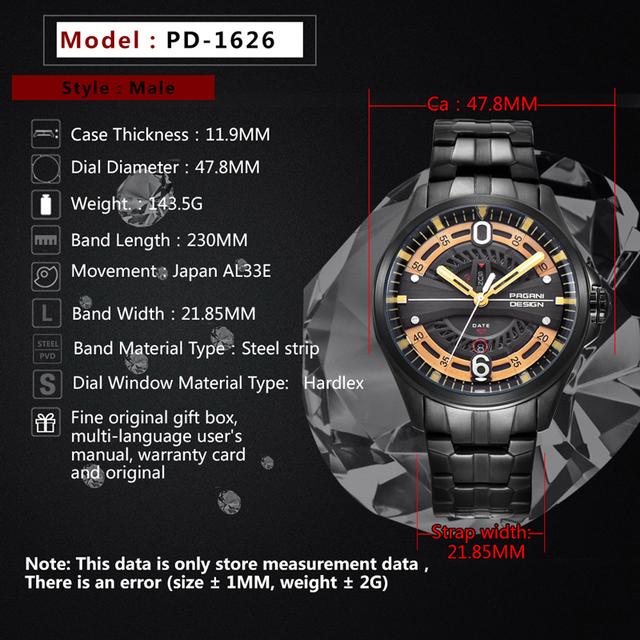 PAGANI DESIGN Fashion Casual Brand Man Watch Stainless Steel 30M Waterproof Quartz Sport Hollow Calendar Watch Relogio Masculino