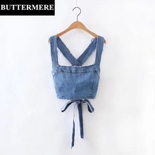BUTTERMERE Summer Tops Lace Up Denim Crop Top Backless Cross Straps Bow Tie Blue Solid Sexy Fashion Short Slim Camis Colete