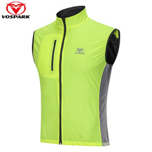 Купить с кэшбэком VOSPARK Pro Men's Cycling Vest Reflective Windproof Waterproof Breathable Cycling Clothing MTB Bike Bicycle Jacket Sleeveless