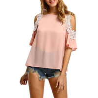 Sheinside Women Cold Shoulder Crochet Trim Tops Summer Style Casual Woman Cute Tops New Arrival Pink