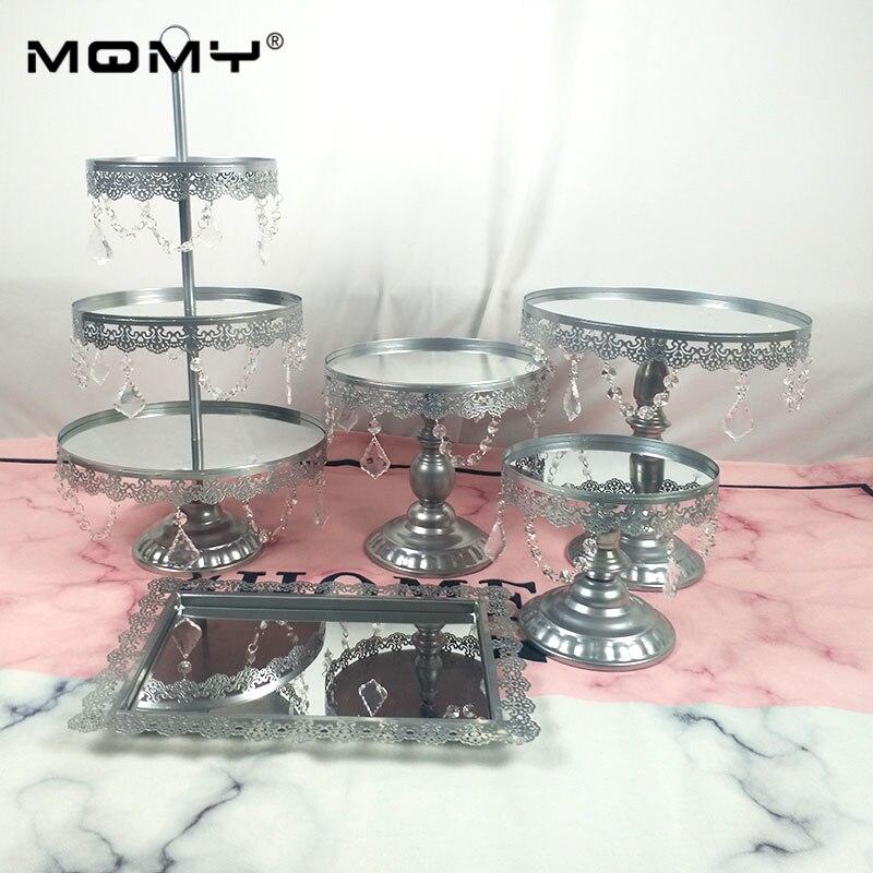 5 pièces/ensemble acrylique miroir mariage 1, 3 niveaux Cupcake affichage blanc argent métal gâteau Stand