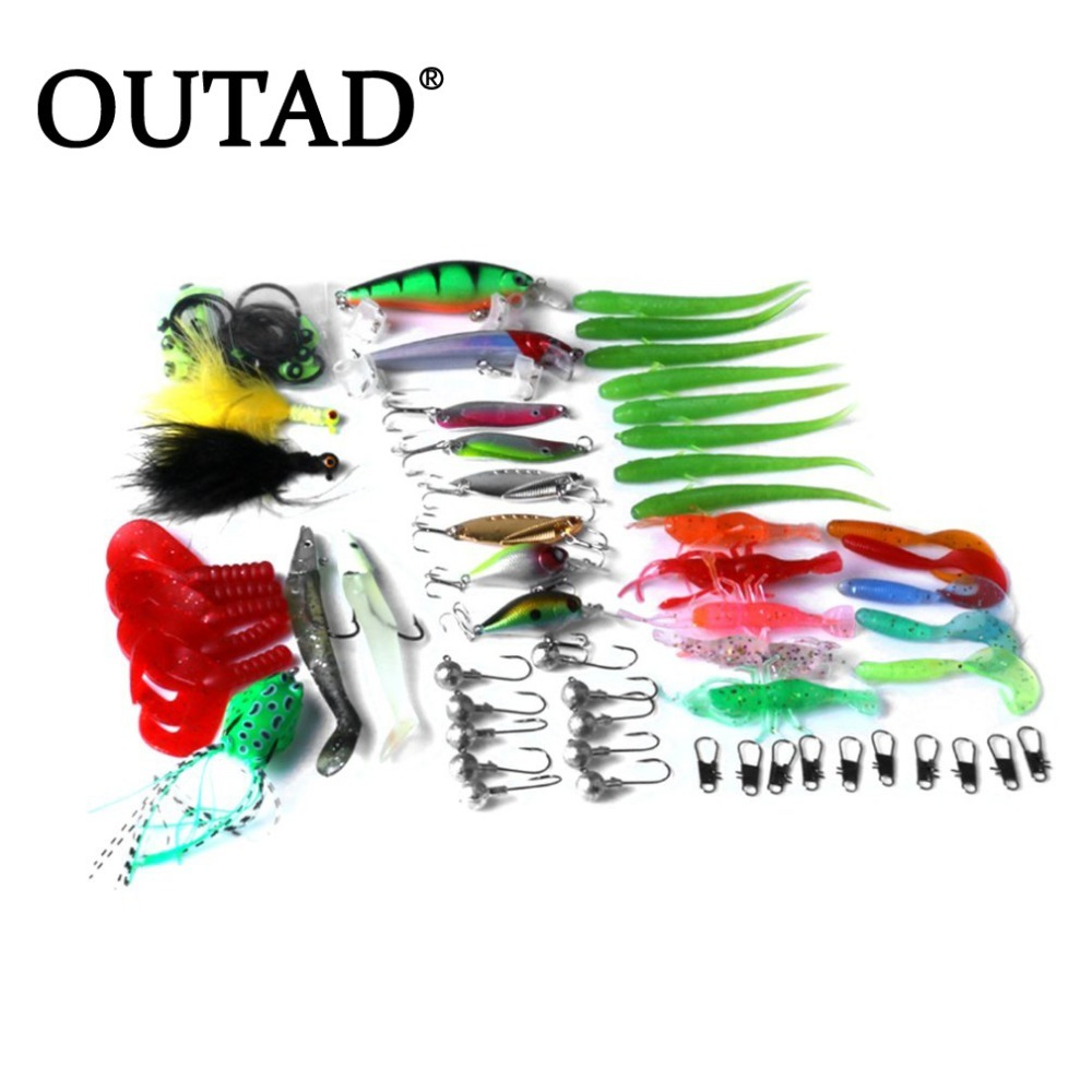 OUTAD 66Pcs/Set False Fishing Lures Bionic Plastic Fishing Baits Fishing Accessories Portable Go Angling Gear Kit Supplies NEW dynamite baits xl pineapple