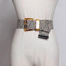 HATCYGGO 2019 Belt Female Vintage Woven Wide Belts For Women Smooth Buckle/Black Summer Braided Dress Decoration Waistband