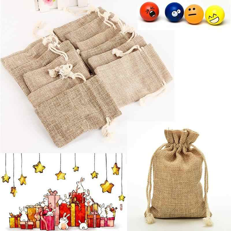 6 размеров упаковка сумка для вечерние Drawstrings подарок сумки Джутовая Ткань мешки Винтаж Свадебные вечеринки сувениры рождественские подарки