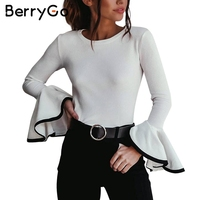 BerryGo Fashion Autumn Winter Sweater Women Tops Sexy Flare Sleeve White Knitting Pullover Casual Soft Elastic