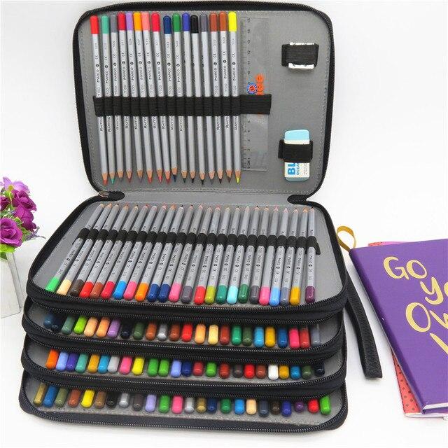 PU หนังดินสอกรณี 184 หลุมความจุขนาดใหญ่ดินสอสีกล่องอเนกประสงค์ Pencilcase สำหรับอุปกรณ์ศิลปะของขวัญ