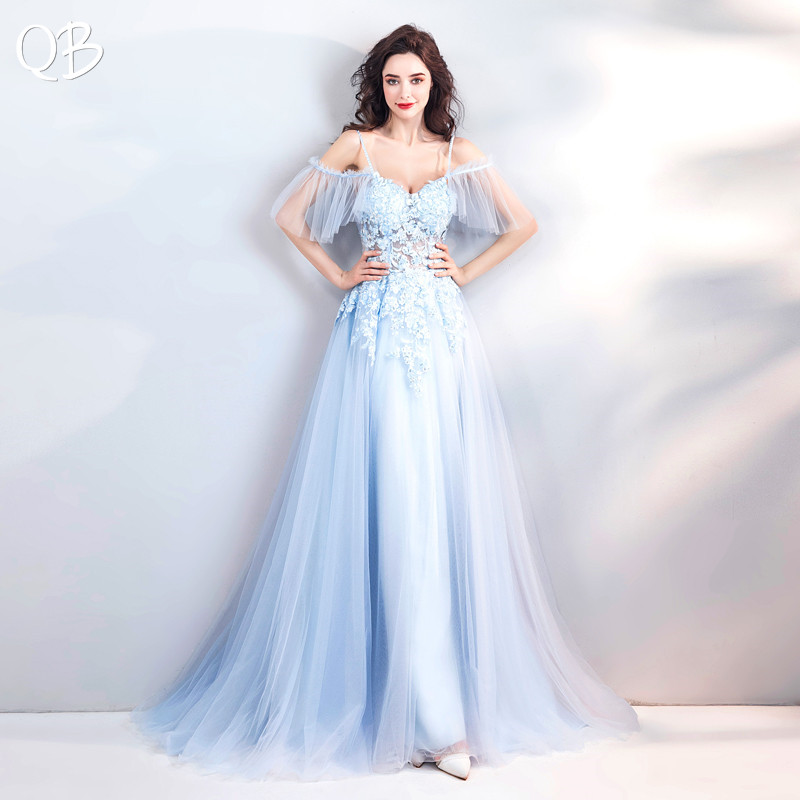 Light Blue A-line Sweetheart Tulle Lace Beading Appliques Elegant   Evening     Dresses   Bride Banquet Party Prom   Dress   XK248