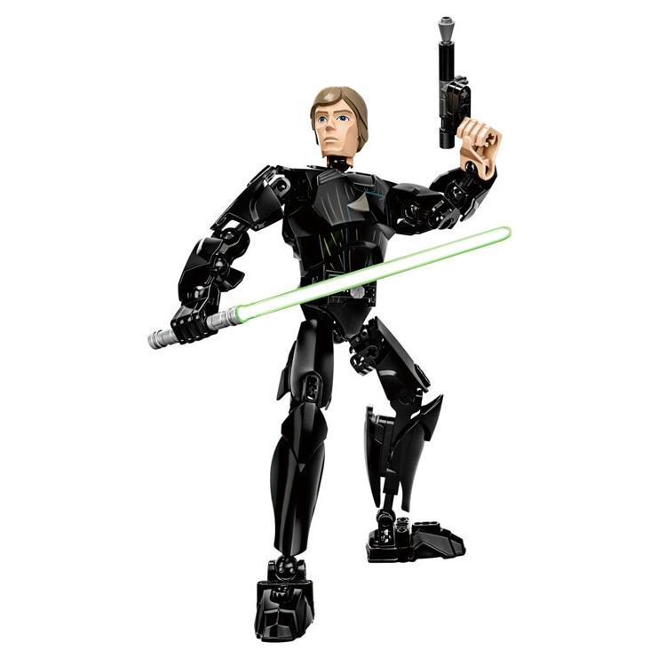 Звездные войны сборная фигура строительный блок Штурмовик Дарт Вейдер Kylo Ren Chewbacca Boba Jango Фетт фигурка игрушка для детей - Цвет: Luke Skywalker