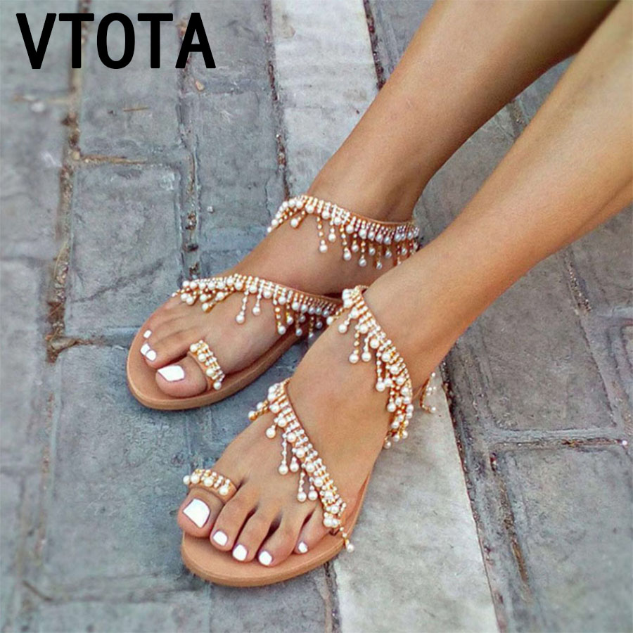 VTOTA Luxury Shoes Women Designers Flat Sandals Ladies Sandals Zapatos De Mujer Women Flat Sandals Woman Sandals 2018 Summer K93