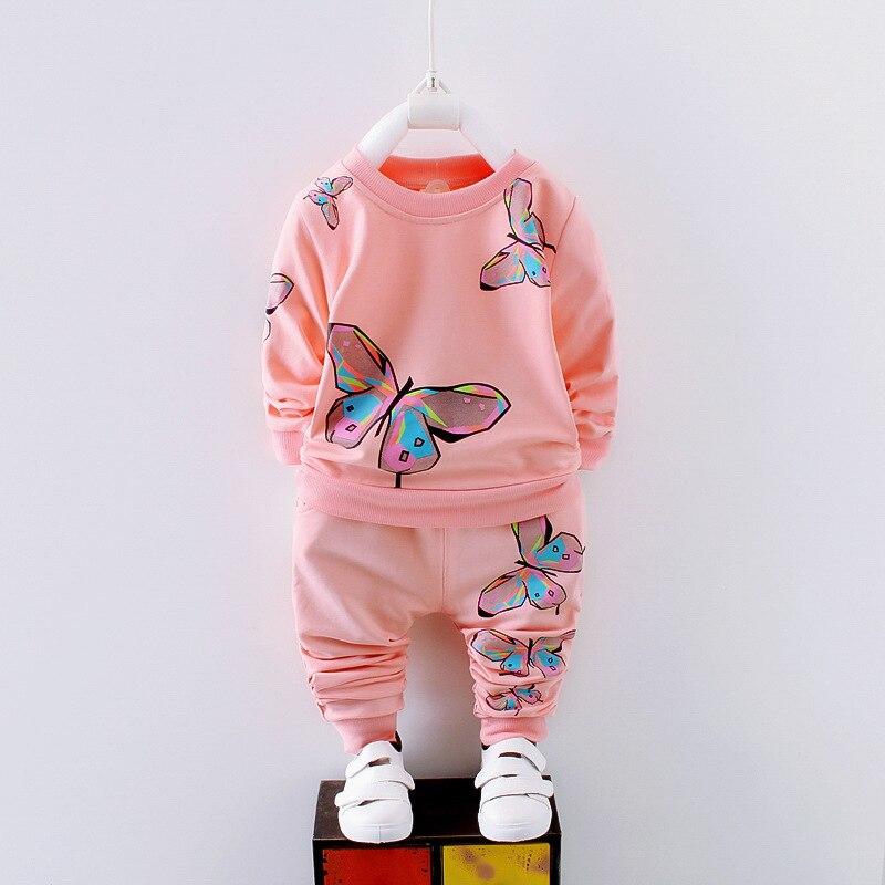 c536759ad4bb 2019 primavera otoño niña ropa Casual ropa de bebé niños traje infantil  dibujos animados mariposa sudaderas deportes pantalones niños conjuntos