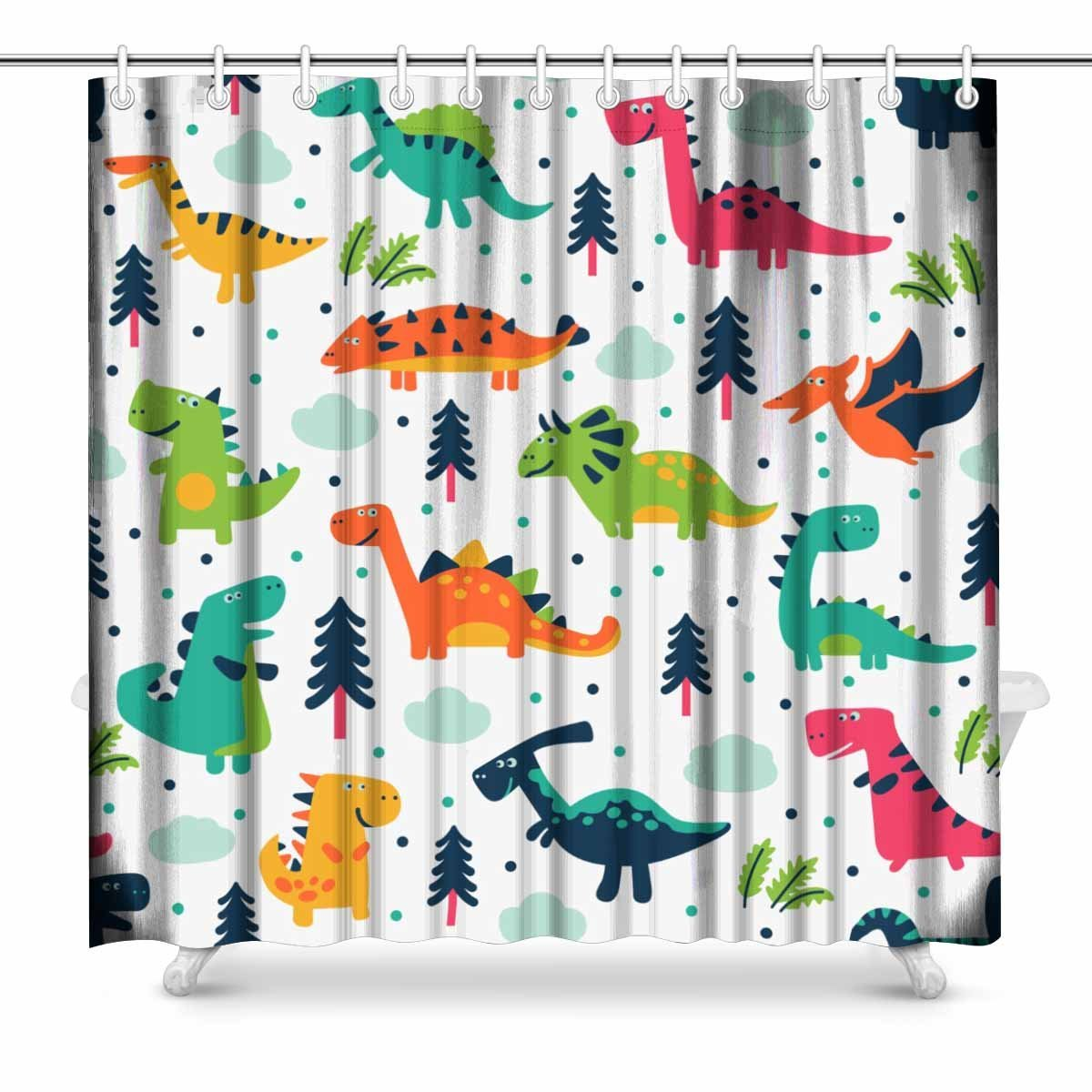Aplysia Adorable With Funny Dinosaurs In Cartoon Bathroom Accessories Shower Curtain With Hooks 72 Inches In Shower Curtains From Home Garden On