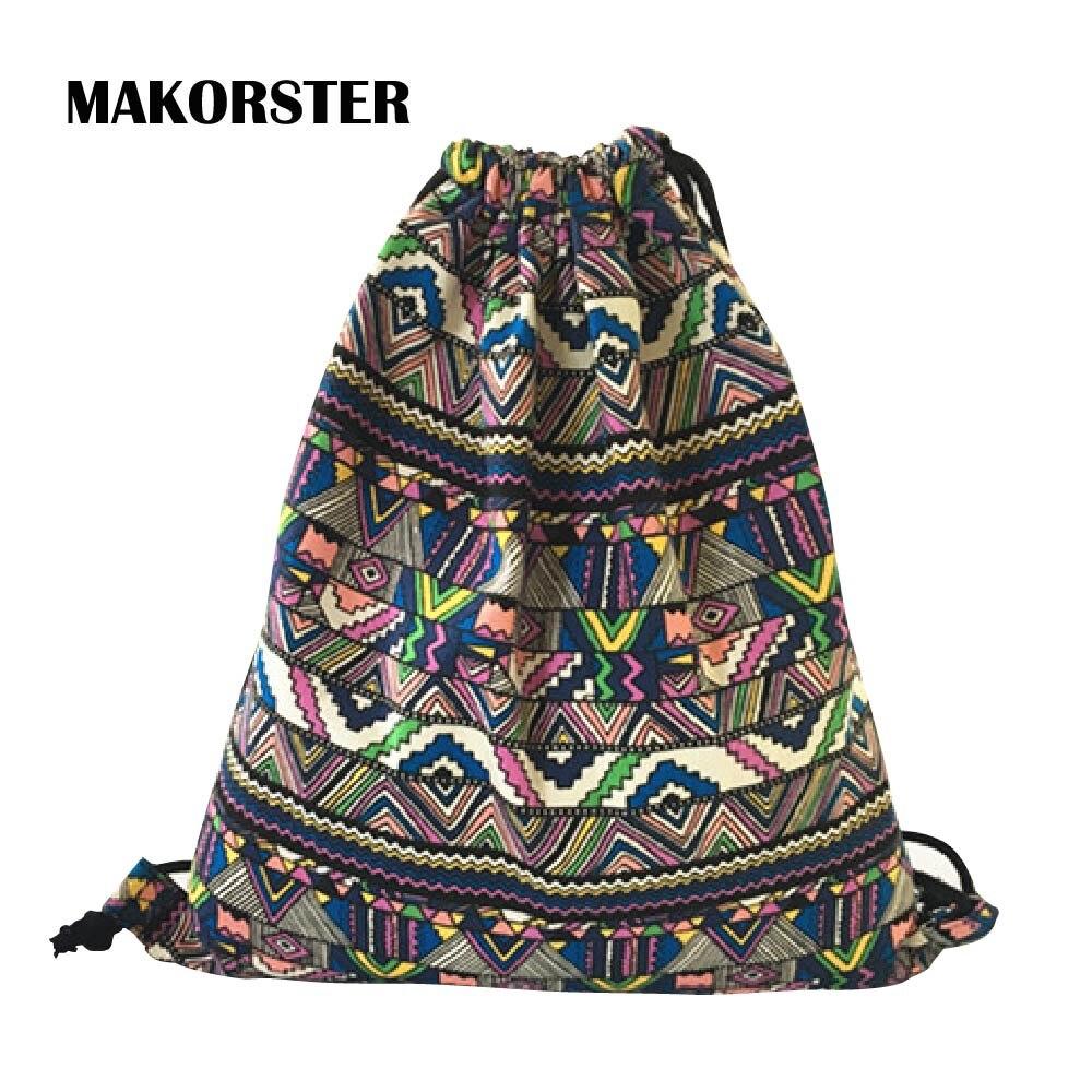 купить MAKORSTER Japan and Korean Style backpack beach drawstring bag Canvas kawaii women travel rucksacks for girls backpacks MK250 недорого