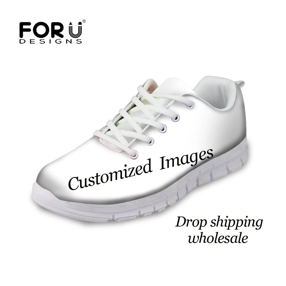 FORUDESIGNS Mesh Lace-up Custom Images or Logo Women Spring Flats Casual Shoes Breathable Comfortable Woman Ladies Sneakers Shoe forudesigns 3d flowers pattern women casual sneakers comfortable mesh flats shoes for female girls lace up shoes zapatos mujer