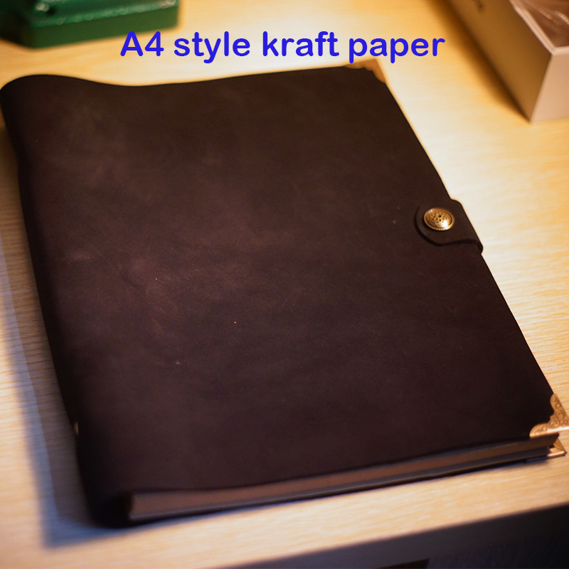 A4 type véritable ordinateur portable en cuir ordinateur portable à la main planificateur a4 kraft unline remplissage papier journal en cuir a4 portable