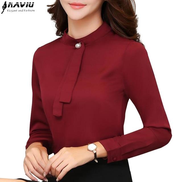 62ff05b8db6611 Spring new fashion elegant women chiffon blouses office ladies long sleeve  slim tie formal shirt plus