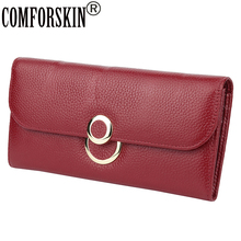 COMFORSKIN Long Women's Wallets Luxurious Cowhide Leather Woman Zipper Purses 2019 Hot Brand Large Capacity Organizer Wallets