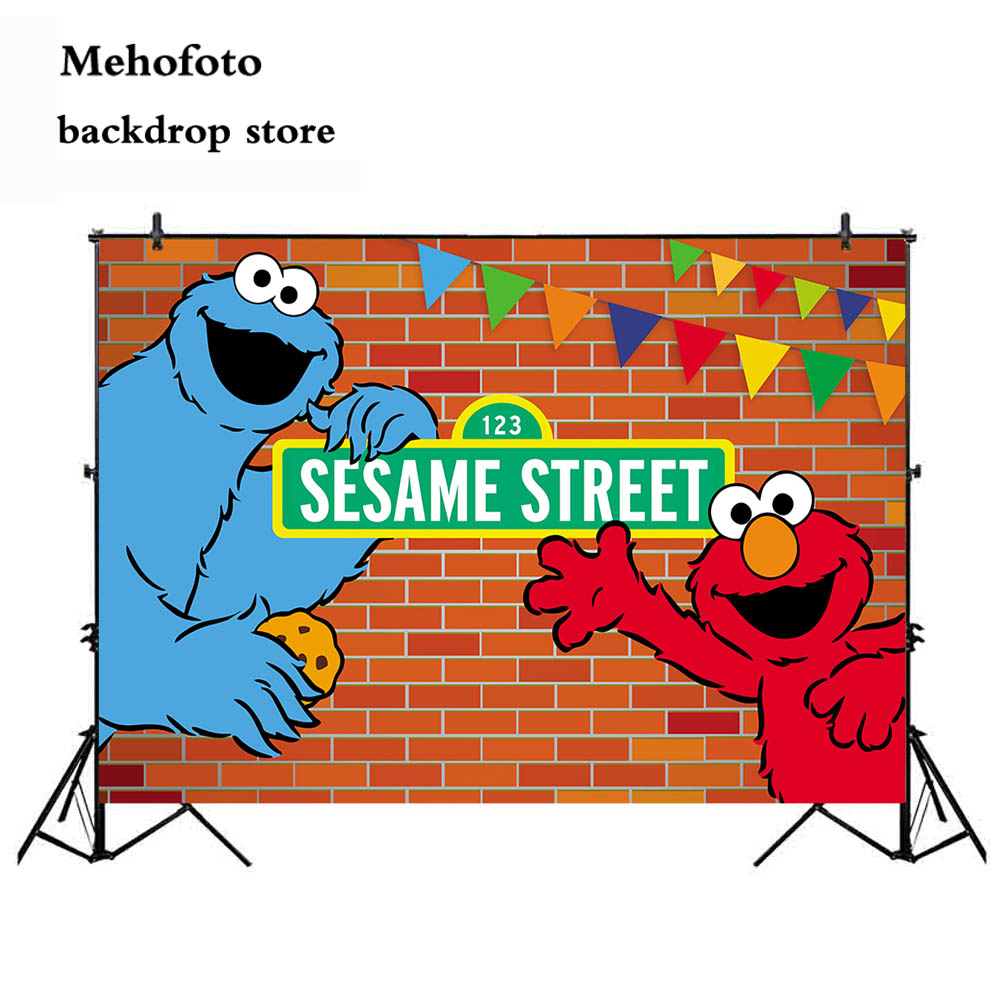 US $6 43 41% OFF|Mehofoto Elmo Party Sesame Street Photography Backdrops  Red Brick Birthday Party Backgrounds for Photo Studio Customize 832-in