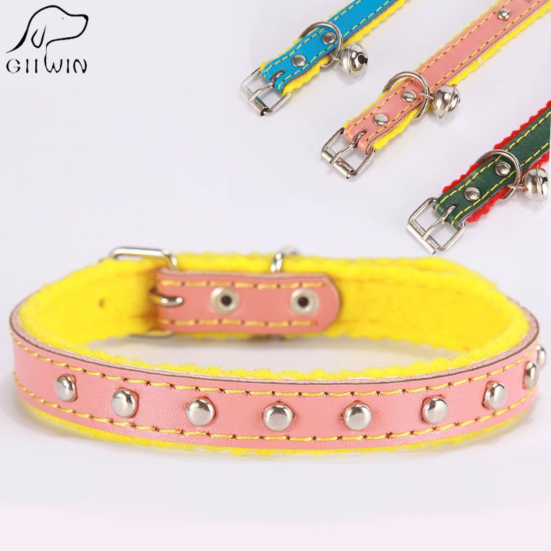 PU Cat Collar with Bell Pets Products for Small Dogs Kitten Pet Supply Necklace for Cat Accessories Chihuahua Lovely YS0039