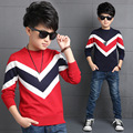 2016 Toddler Boys New Korean Style Winter Striped Decor O-neck Long Sleeve Thickening Pullover Keep Warm Fashion Sweaters