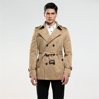 Fashion Double Breasted Trench Male Design Slim Fit Business Casual Outerwear Plus Size Customized Coat Trench Cheap