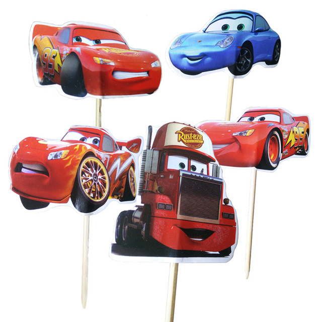48pcs Lot Disney The Cars Lightning Mcqueen Cupcake Toppers For Kids Birthday Decoration Party Supplies