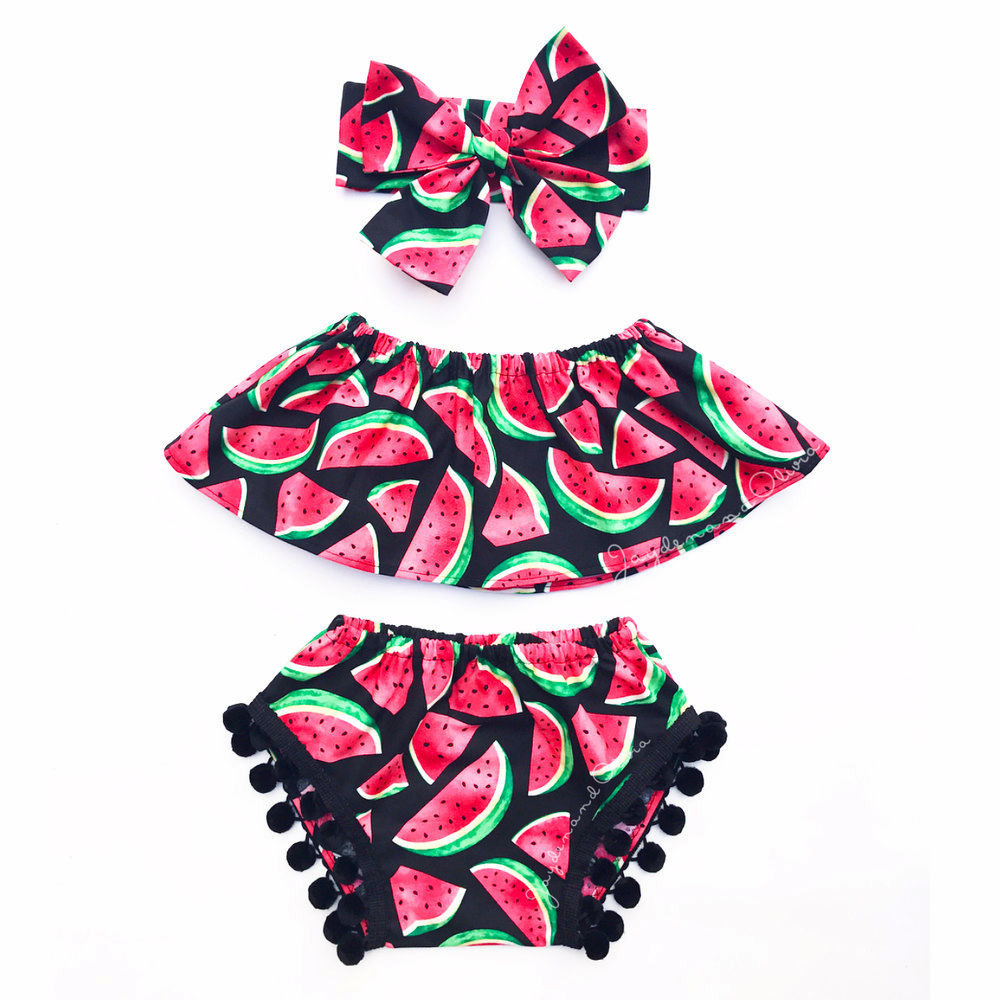 2017 Summer 3PCS Set Toddler Kids Baby Girl Clothes Watermelon Tank Top+Baby Bloomers Shorts Headband Outfits Children Set 0 24m floral baby girl clothes set 2017 summer sleeveless ruffles crop tops baby bloomers shorts 2pcs outfits children sunsuit