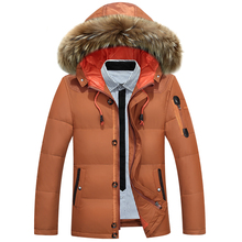 zozowang Hot Sale 2018 New Men down jacket Winter Thick Warm Fashion Patchwork Men's Coat Hooded Men White duck down Coat