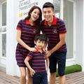 2016 nuevo vestido de la madre de Familia Familia Conjunto de Ropa casual short Camisetas A Juego de rayas ropa del bebé
