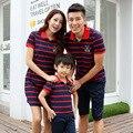 2016 vestido novo mãe listrado Família Set Família Roupas Combinando casual T-shirts curtas bebê menino roupas