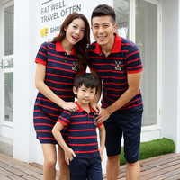 2016 New Mother Dress Striped Family Set Family Matching Clothing Casual Short T Shirts Baby Boy