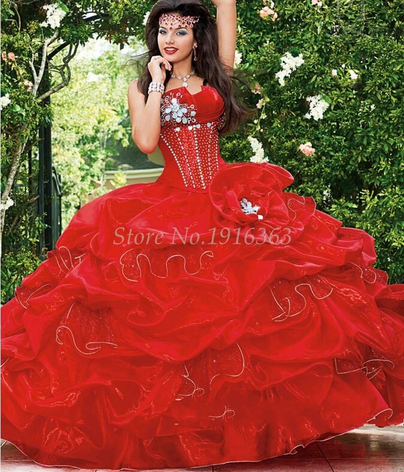 Red dress quinceanera vestidos