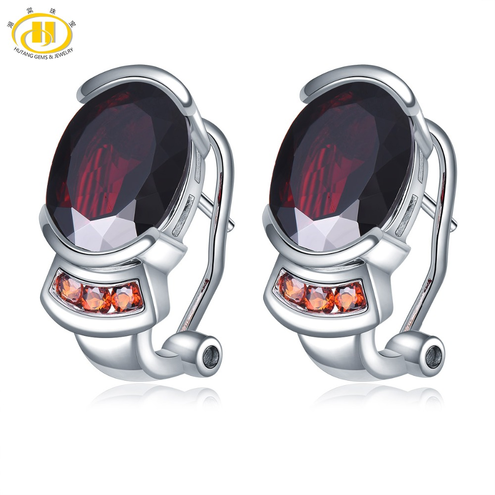 Hutang 8.54ct Natural Black Garnet Women's Clip Earrings Solid 925 Sterling Silver Red Gemstone Fine Elegant Jewelry for Gift