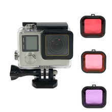 цена на Waterproof Housing Case + Filter Kits for GoPro Hero 4/3+/3 Action Cameras Hero4 Underwater Protective Dive Housing Accessories
