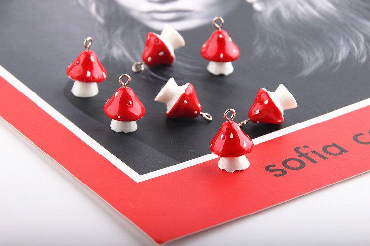 10pcs 3D Mushroom Resin Charms DIY Craft fit for Bracelet  Jewelry Finding handmade 15*22mm 5