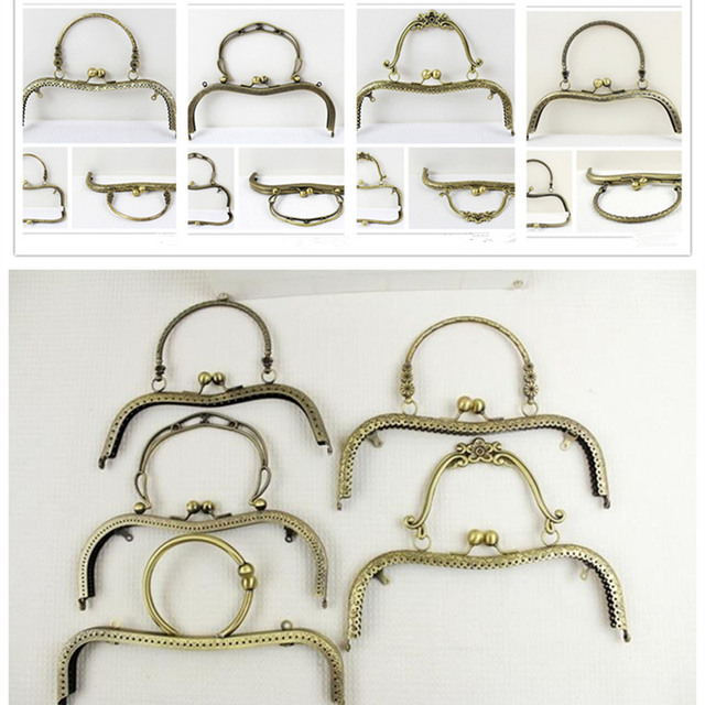 Metal Accessories For Handbags M Shaped With Handle Purse Bag Frame Kiss Clasp Lock