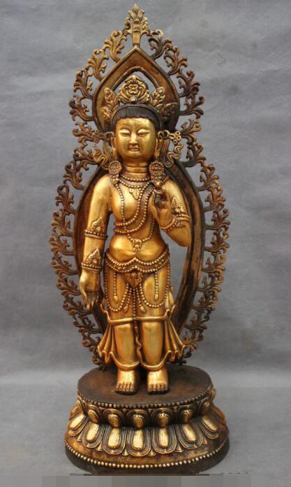 S5515 22 Tibet Bronze Gilt Buddhism Lotus Tara Kwan-yin GuanYin Buddha Goddess StatueS5515 22 Tibet Bronze Gilt Buddhism Lotus Tara Kwan-yin GuanYin Buddha Goddess Statue