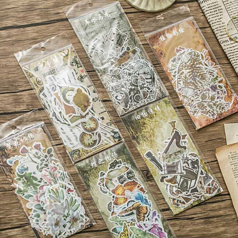60pcs Japanese Decorative Flower Floral Diary Journal Vintage Paper Scrapbooking Label Stickers Stationery Teacher School Supply