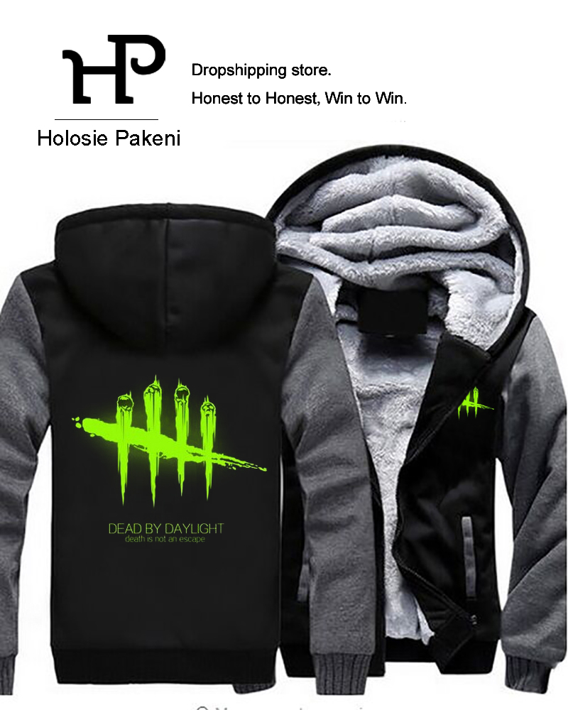 Dropshipping Game Dead by Daylight Luminous Mens Hoodies Zipper Sweatshirt Jacket Winter ...