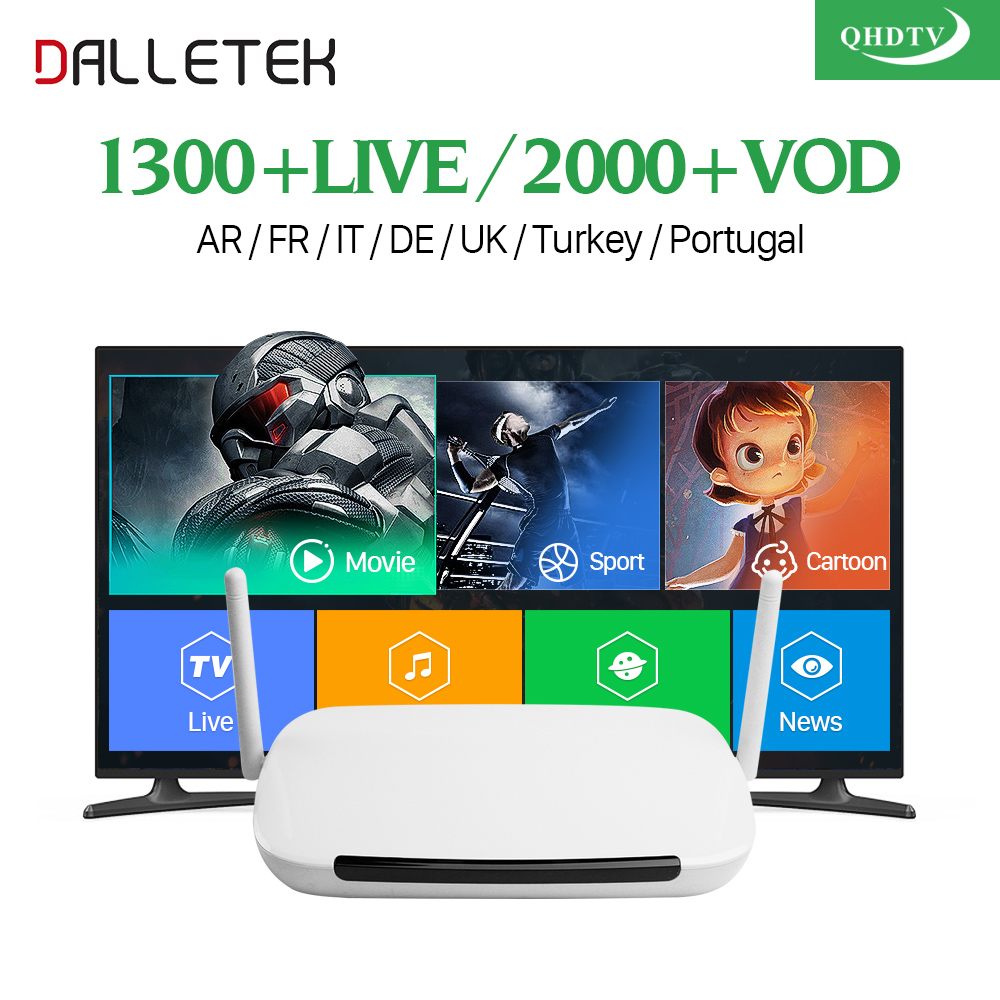HIGHLY RECOMMEND Dalletektv Android Smart TV Box Abonnement IPTV 1 Year Qhdtv Subscription Spain Europe Arabic French IPTV Box