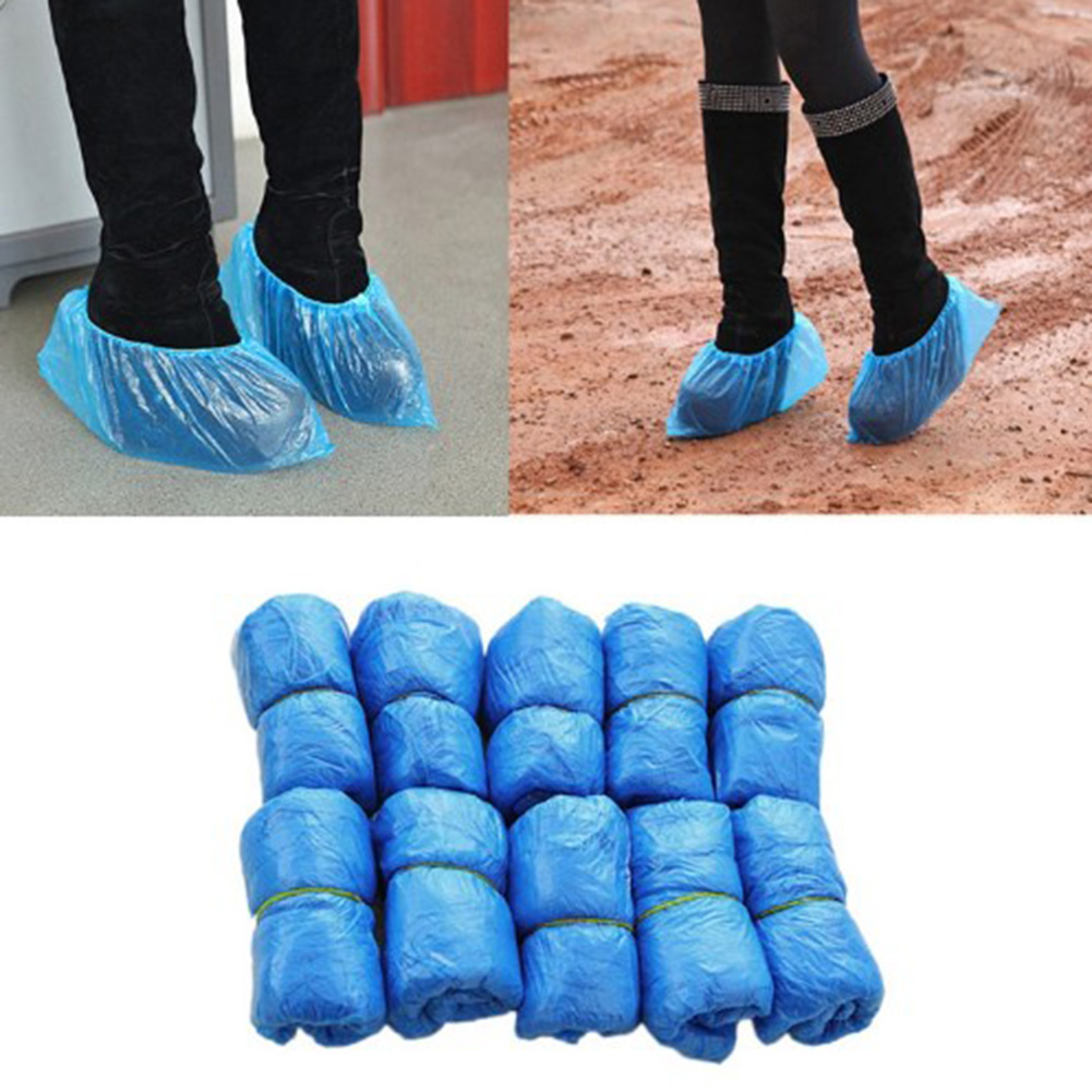 One-time Waterproof 20PCS Medical Waterproof Boot Covers Plastic Disposable Shoe Covers Overshoes цены онлайн