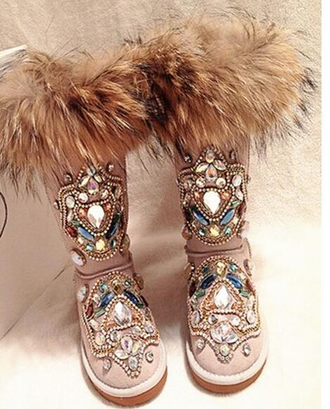 Bling Bling Crystal Embellished Winter Snow Boots Round Toe Slip-on Women Mid-calf Boots Fox Hair Flat Shoes Women Free ShippingBling Bling Crystal Embellished Winter Snow Boots Round Toe Slip-on Women Mid-calf Boots Fox Hair Flat Shoes Women Free Shipping