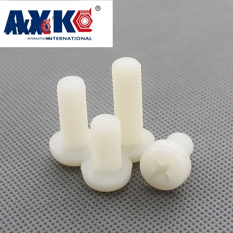 AXK 50Pcs ISO7045 DIN7985 M2 M2.5 M3 M4 Cross Pan Head Nylon Screws Plastic Phillips Screw niko 50pcs chrome single coil pickup screws