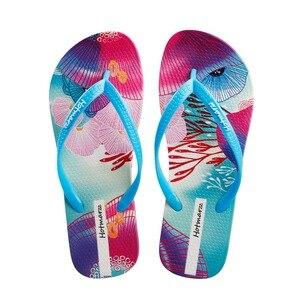 Image 1 - Хит продаж, женские шлепанцы, сандалии с цветочным узором, цветные летние тапочки, сезон 2019, серия Ocean