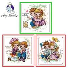 Joy Sunday,Happy Day,cross stitch embroidery set,printing cloth kit,needlework,cartoon pictures cross set