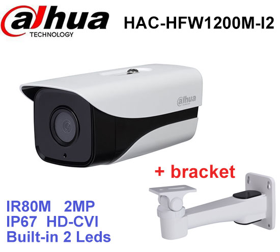 Dahua HDCVI Camera DH-HAC-HFW1200M-I2 HD 1080P 2MP built-in 2 leds IR 80m security cctv Camera with bracket dahua hdcvi 1080p bullet camera 1 2 72megapixel cmos 1080p ir 80m ip67 hac hfw1200d security camera dh hac hfw1200d camera