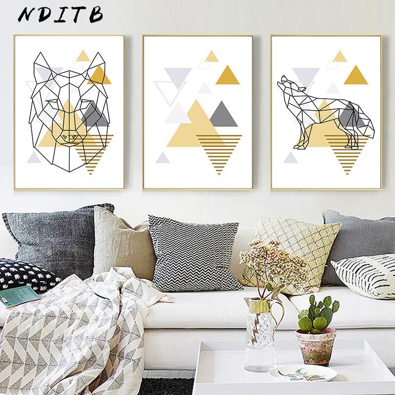 Lienzo de geometría escandinava para decoración de la habitación, póster nórdico, cuadro de pintura decorativa moderna