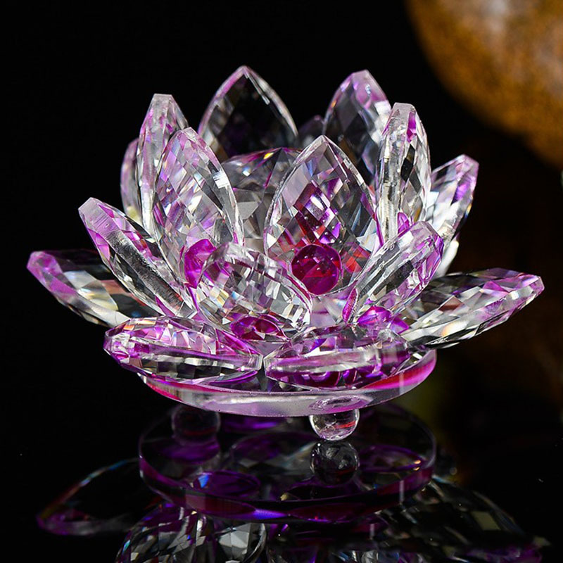 Quartz 80 mm Crystal Lotus Flower Crafts Glass Ornament 6