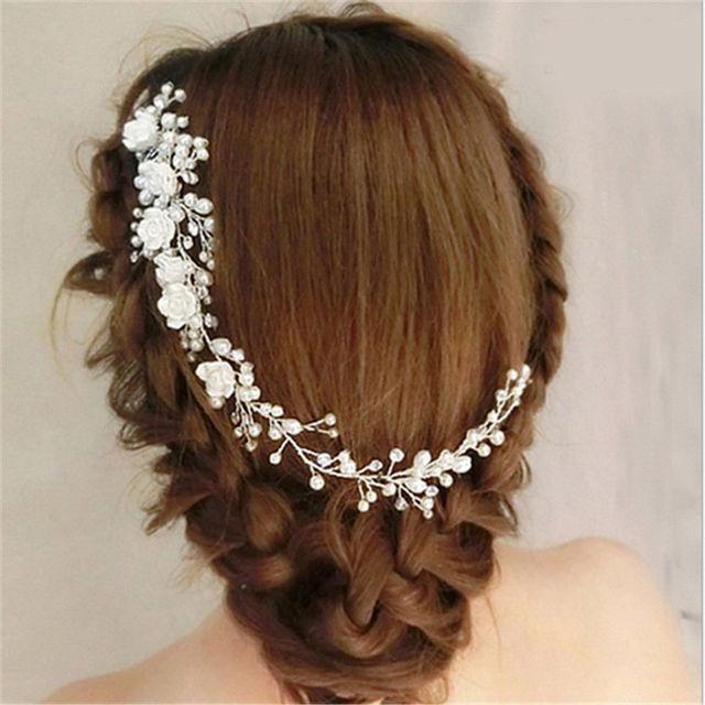 Handmade Luxury Wedding Hair Jewelry Bridal Pure White Flowers Pearl Hair Combs