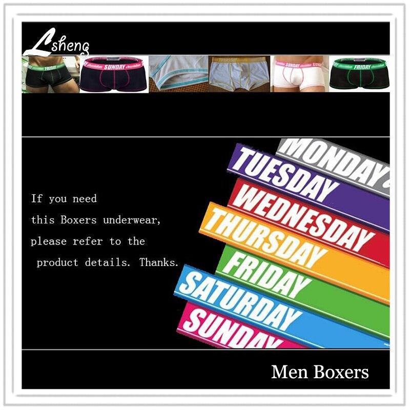 A Set 7pcs Hot Sale Men's Weeks  Underwears Men Cotton Weeks Boxers Shorts Male My Day Boxers Man Trunks Panties Underwear